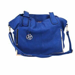 Cobalt blue handbag purse multiple compartments